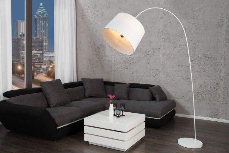 Design Stehleuchte FORMA weiß Bogenlampe Bogenleuchte