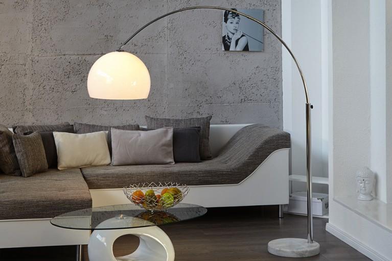 Bogenleuchte LOUNGE DEAL weiß Marmorfuß ausziehbar 185-205cm mit Dimmfunktion Bogenlampe
