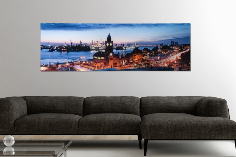 Hochwertiges Bild HAMBURG LANDUNGSBRÜCKEN 45x140cm Kunstdruck auf Glas