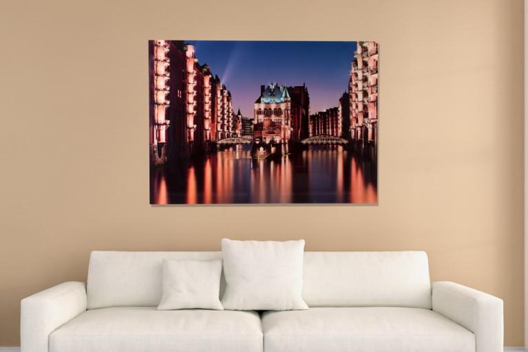 Hochwertiger Kunstdruck HAMBURG SPEICHERSTADT XL 100x140cm Wandbild aus Glas