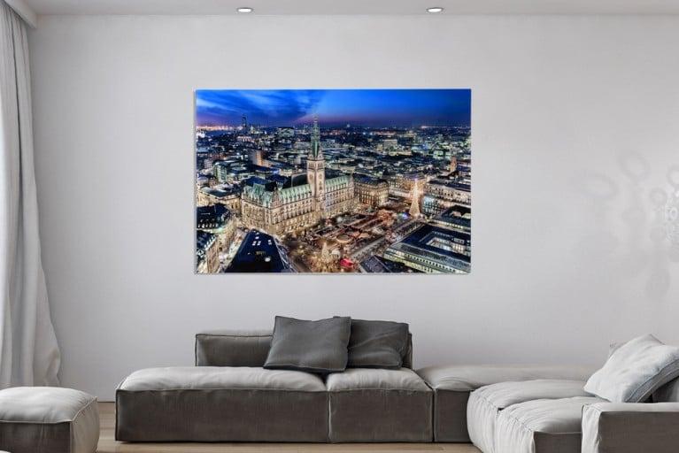Hochwertiges Bild HAMBURGER RATHAUS XL 100x140cm Kunstdruck auf Glas