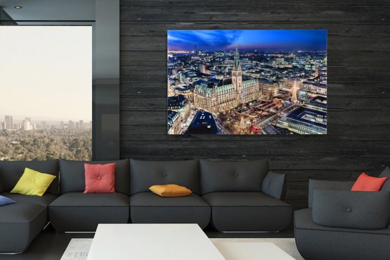 Hochwertiger Kunstdruck HAMBURGER RATHAUS 50x70cm Wandbild aus Glas