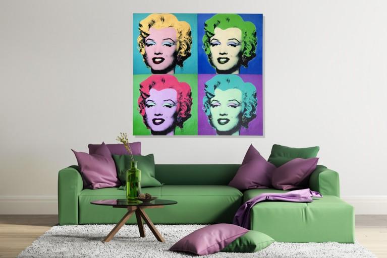 Design Kunstdruck MARILYN POP ART 80x80cm bunt auf Leinwand Keilrahmen und Canvasleinengewebe