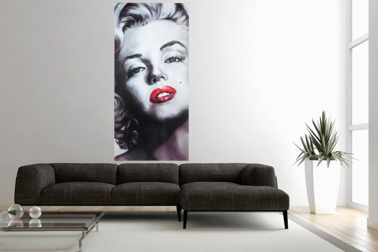 Design Kunstdruck MARILYN 100x45 auf Leinwand Keilrahmen und Canvasleinengewebe