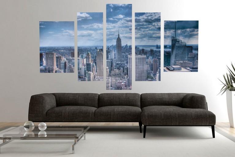 Eindrucksvoller Kunstdruck 5tlg. NEW YORK EMPIRE STATE BUILDING Bild Leinwand 100x170cm