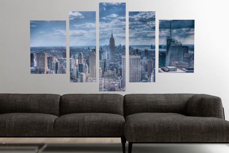 Eindrucksvoller Kunstdruck 5tlg. NEW YORK EMPIRE STATE BUILDING Bild Leinwand 60x110cm