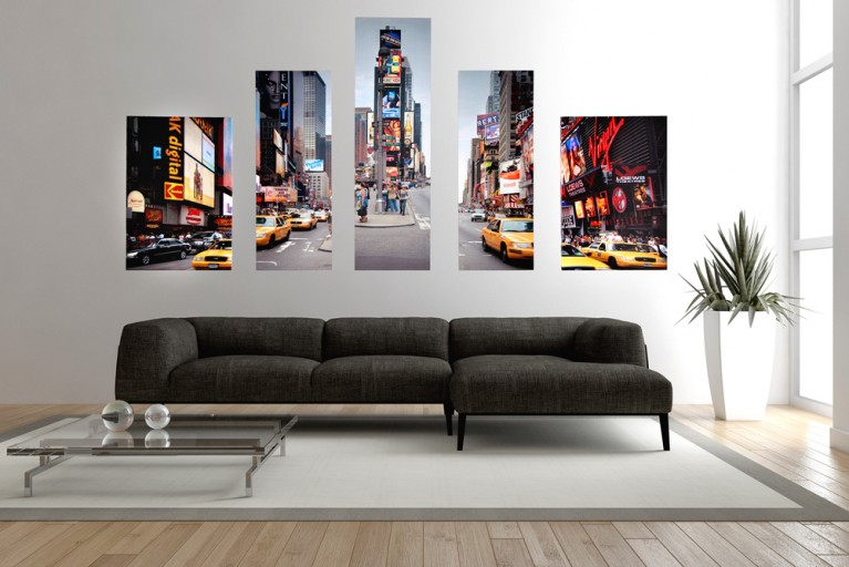 Imposanter Kunstdruck 5tlg. NEW YORK TIMES SQUARE Bild Leinwand 100x170cm