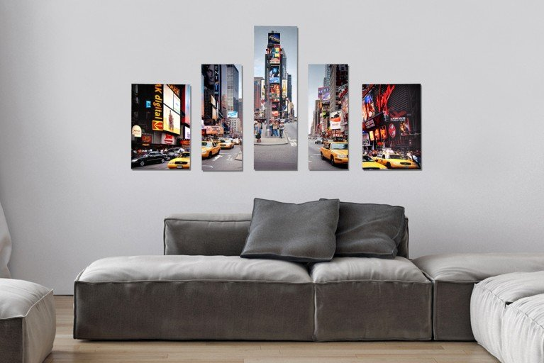 Imposanter Kunstdruck 5tlg. NEW YORK TIMES SQUARE Bild Leinwand 60x110cm