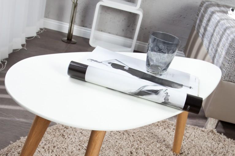 Ästhetischer Design Beistelltisch CONSTANTIN weiß 70cm originelle Form