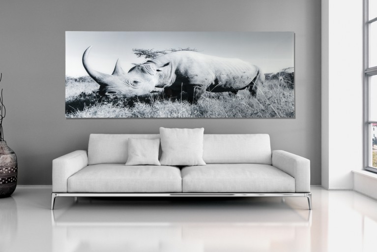 Hochwertiger Glas Kunstdruck NASHORN 100x140cm auf Glas