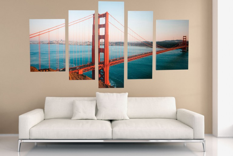Imposanter Kunstdruck 5tlg. GOLDEN GATE BRIDGE Bild Leinwand 100x170cm