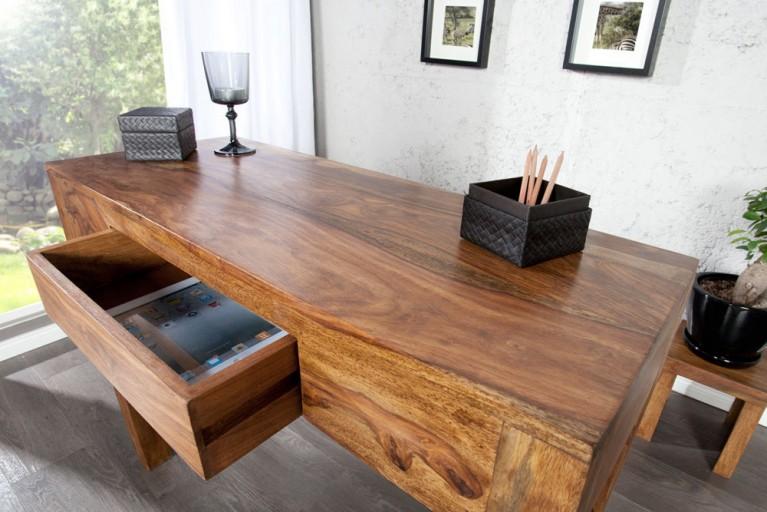 Massiver Sekretär MAKASSAR Konsolentisch Sheesham stone finish Schreibtisch 100 cm