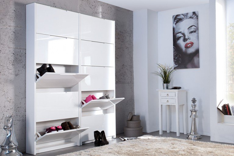 design schuhschrank supreme hochglanz weiss 3 klappen. Black Bedroom Furniture Sets. Home Design Ideas