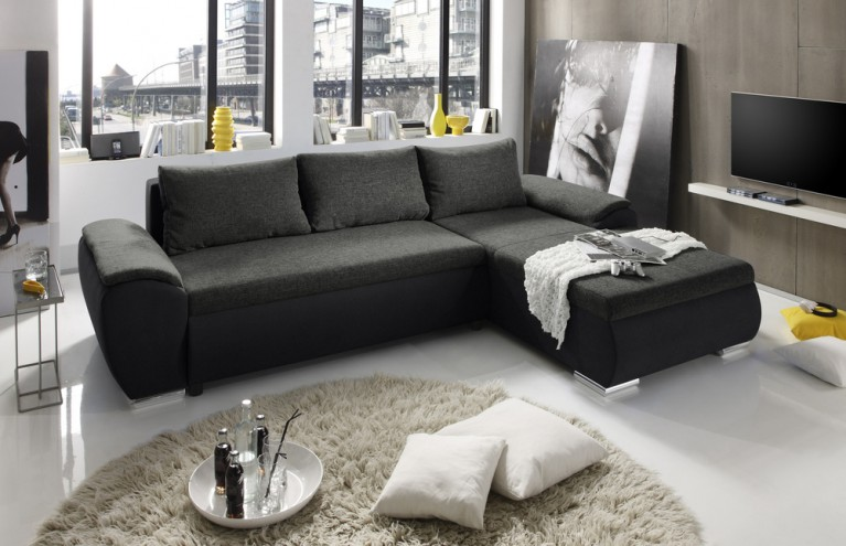 Stylisches Design Ecksofa GAME 300cm anthrazit grau Microfaser Stoffbezug Kombination