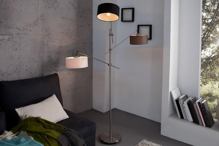Design Stehlampe THERESA mit drei Lampenschirmen schwarz-weiß-grau höhenverstellbar und schwenkbar 175cm
