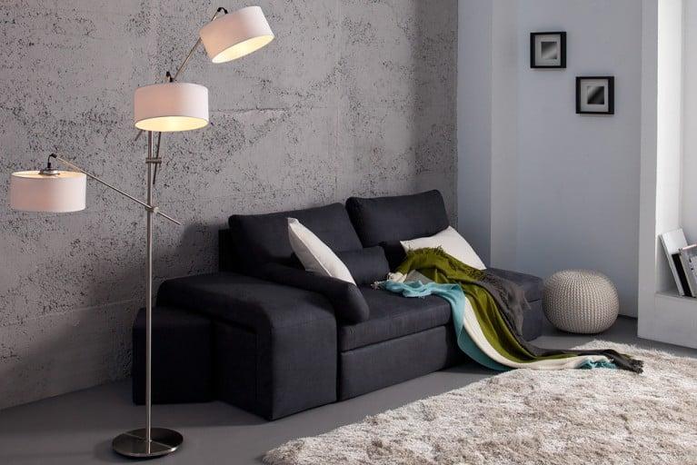 Design Stehlampe THERESA mit drei Lampenschirmen weiß höhenverstellbar und schwenkbar 175cm