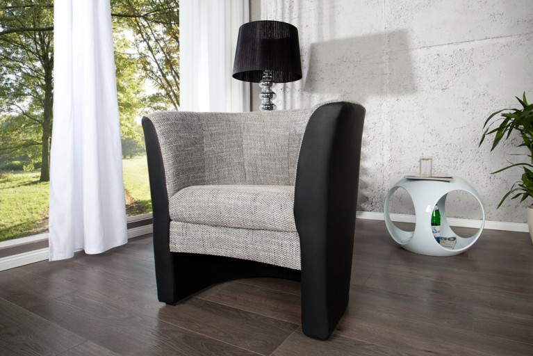 stylischer clubsessel motion weiss strukturstoff grau. Black Bedroom Furniture Sets. Home Design Ideas