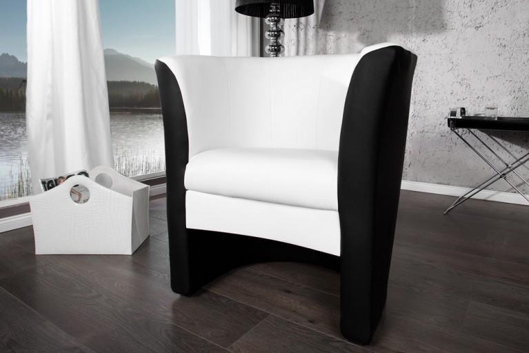 Stylischer Cocktailsessel MOTION  weiss mit schwarz Sessel