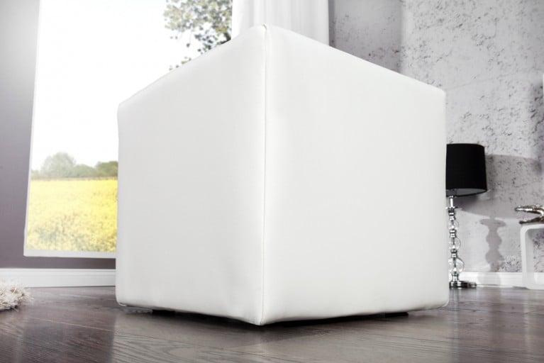 Design Polsterhocker MONOLIT Sitzhocker Stoffbezug weiß Sitzwürfel 40cm