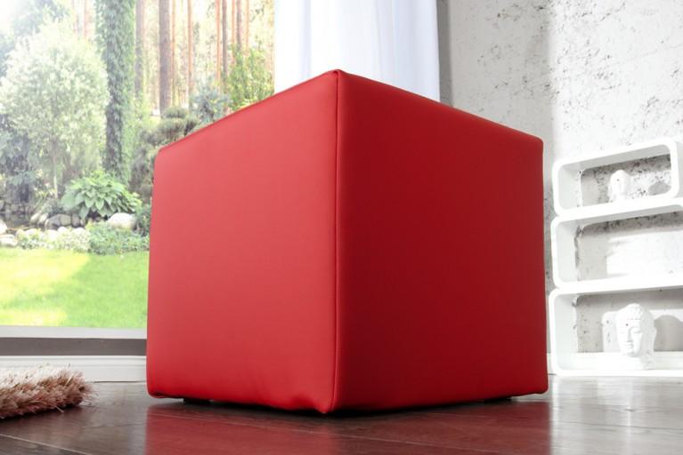 Design Polsterhocker MONOLIT Sitzhocker Stoffbezug rot Sitzwürfel 40cm