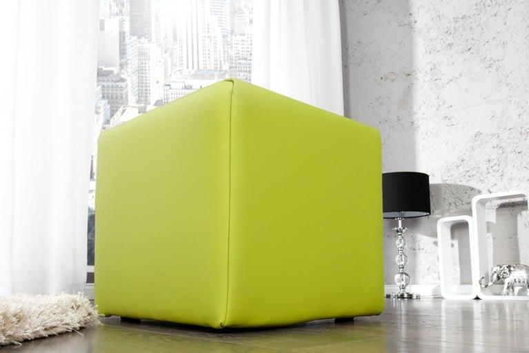 Design Polsterhocker MONOLIT Sitzhocker Stoffbezug lemon Sitzwürfel 40cm