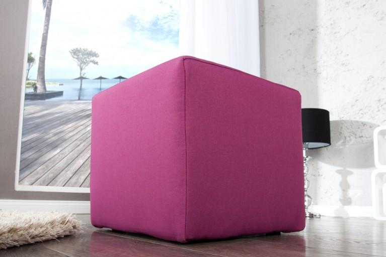 Design Polsterhocker MONOLIT Sitzhocker Stoffbezug pink Sitzwürfel 40cm