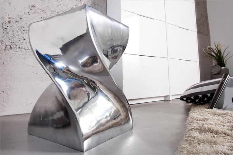 Einzigartiger Design Hocker TWIST Alu poliert 45cm Beistelltisch