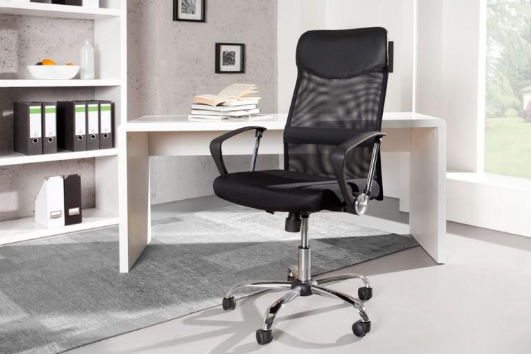 Design Bürostuhl COMMANDER schwarz Bürosessel Chefsessel mit Mesh-Bezug