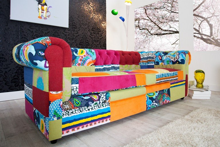 Design Chesterfield Sofa Patchwork PARADISE bunt Couch 3-Sitzer
