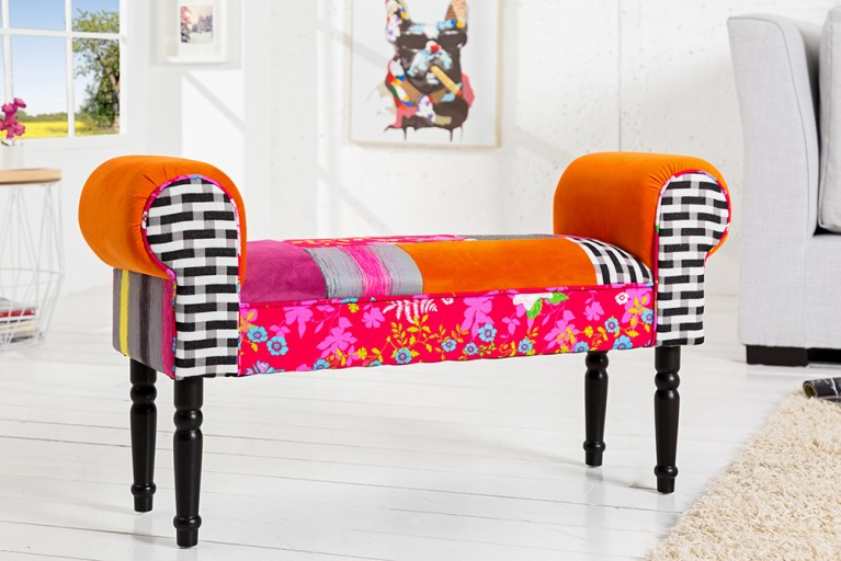 Patchwork design stuhl gypsy mehrfarbig mit nackenrolle for Design patchwork stuhl ibiza