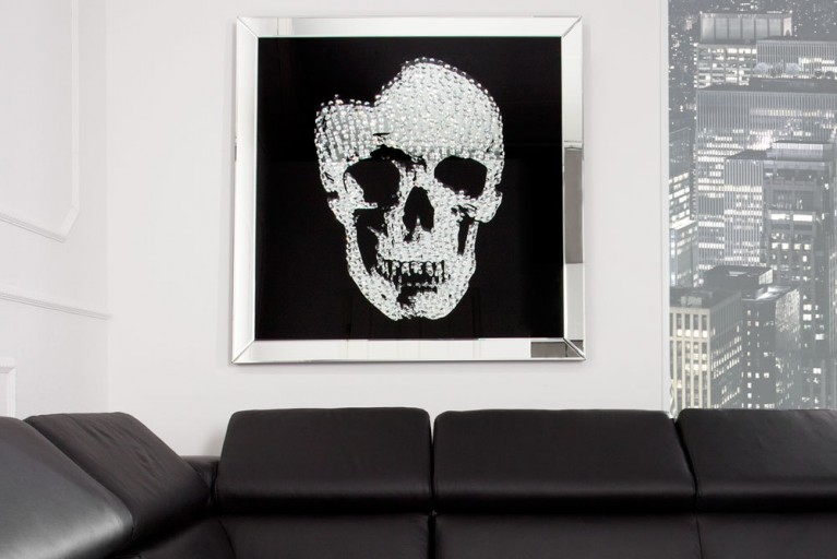 Exklusive Wandskulptur Bild MIRROR SKULL Diamond Skull XXL 100x100 cm