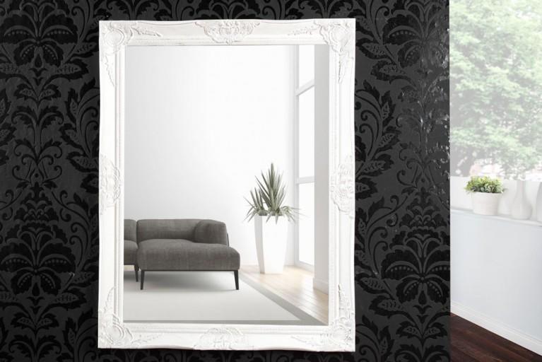 Barock Spiegel RENAISSANCE Antik Weiß mit Silber und Facettenschliff 90cm