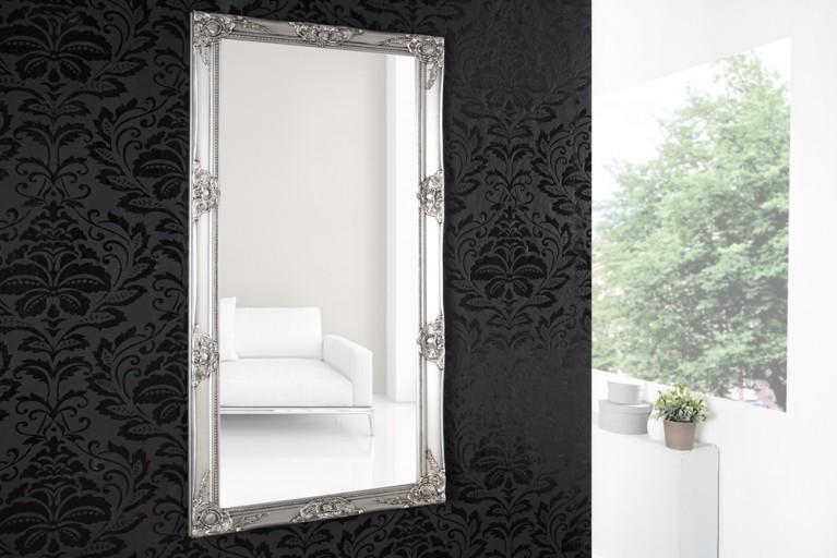 Barock Spiegel RENAISSANCE Silber und Facettenschliff 185cm Wandspiegel