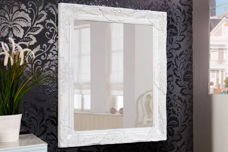 Barock Spiegel RENAISSANCE Antik Weiß mit Silber und Facettenschliff 65cm