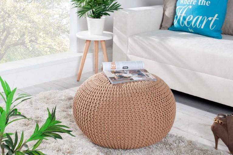 Design Pouf LEEDS aus Strick coffee 50cm Sitzgelegenheit Fußbank