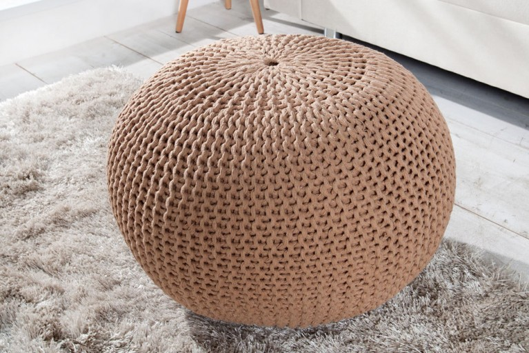 Design Strick Pouf LEEDS coffee 50cm Hocker Baumwolle in Handarbeit Sitzkissen