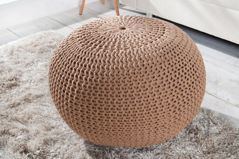 Design Strick Pouf LEEDS coffee 50cm Hocker Baumwolle in Handarbeit