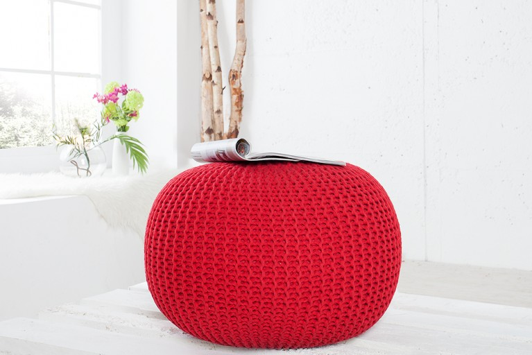 Design Pouf LEEDS aus Strick rot 50cm Sitzgelegenheit Fußbank