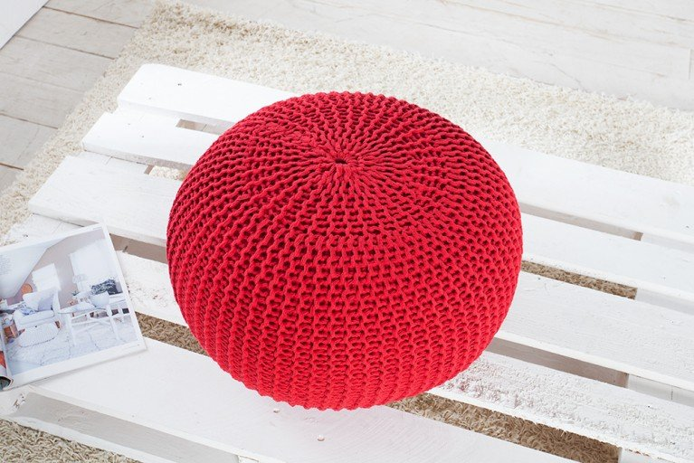 Design Strick Pouf LEEDS rot 50cm Hocker Baumwolle in Handarbeit