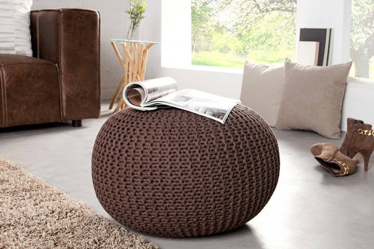 Design Pouf LEEDS aus Strick dark coffee 50cm Sitzgelegenheit Fußbank