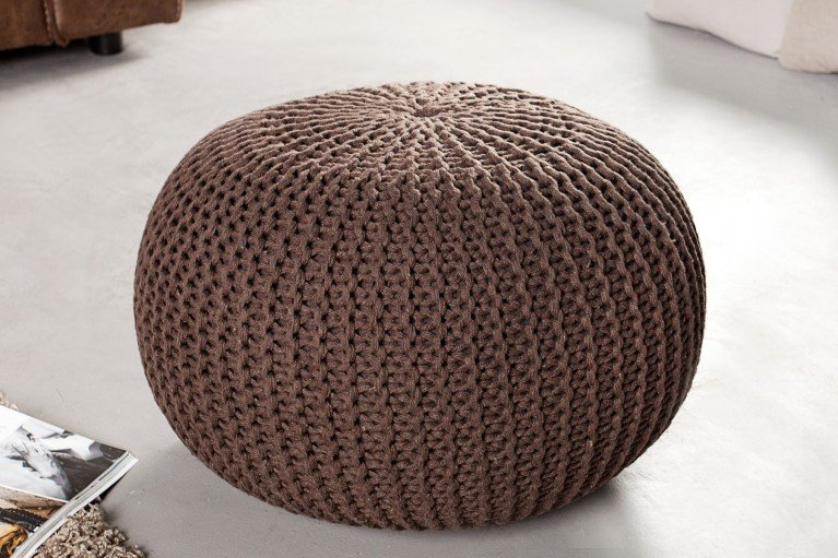 Design Strick Pouf LEEDS dark coffee 50cm Hocker Baumwolle in Handarbeit