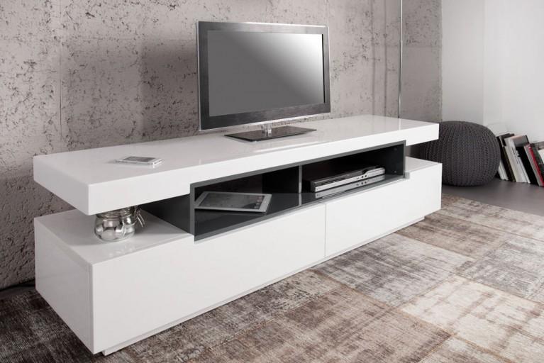 Design TV-Board Lowboard MAMMUT Hochglanz weiß-grau 160cm
