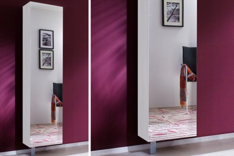 Stylischer Design Dreh Schuhschrank CLEARY II 185cm weiß mit Spiegel