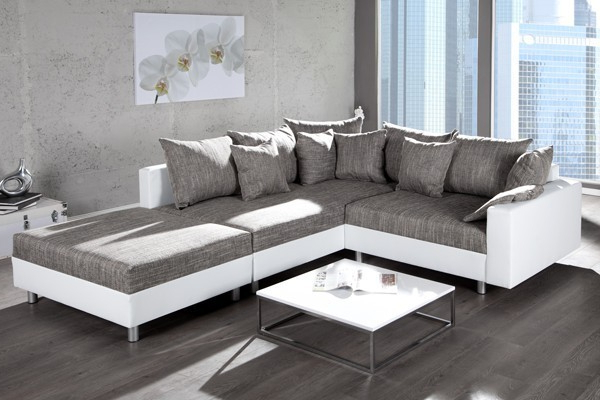 Design Ecksofa mit Hocker LOFT weiss Strukturstoff grau Federkern Sofa OT links