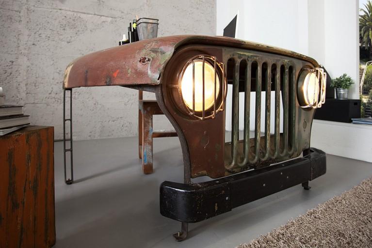 Originaler Oldtimer Schreibtisch JEEP bunt inkl. Scheinwerfer Beleuchtung