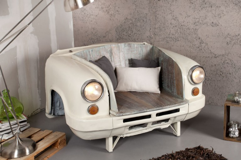 Selten! Original OLDTIMER AUTOMOBILE FRONT umgebaut als Sofa oder Sitzbank inkl. funktionierender Lichtanlage creme