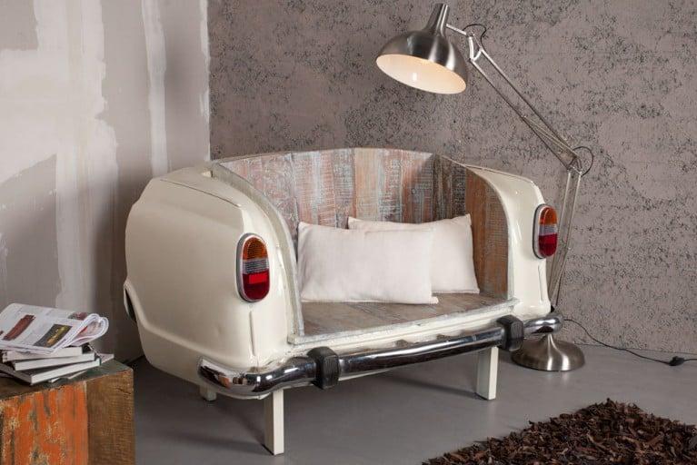 Selten ! Umgebauter AUTOMOBIL OLDTIMER HECK als Sofa oder Sitzbank creme