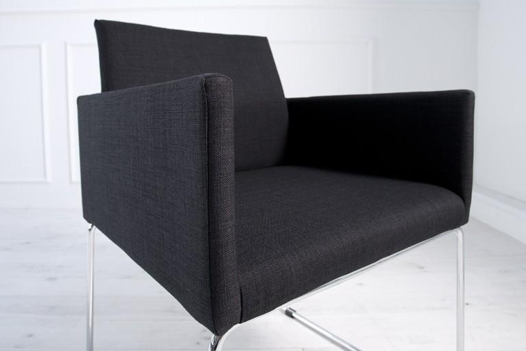 Eleganter Design Stuhl LIVORNO Strukturstoff schwarz-anthrazit