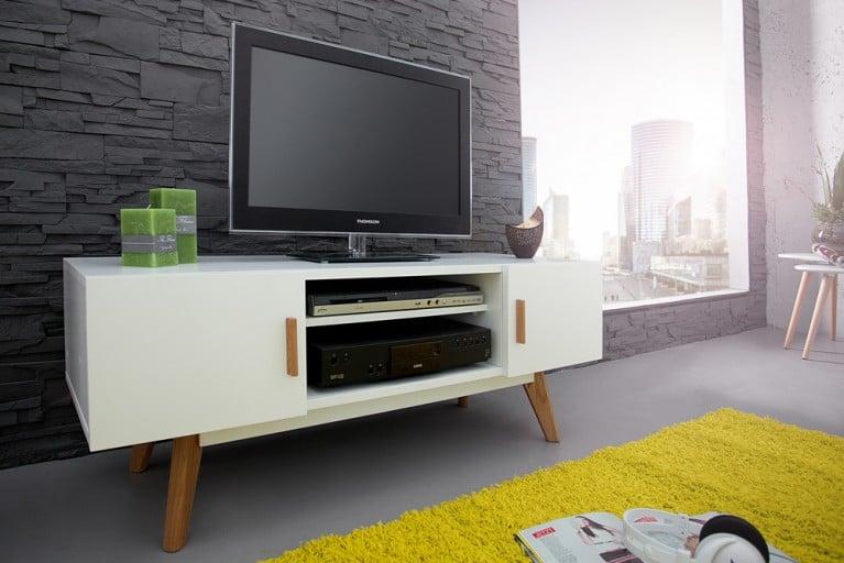 Design Lowboard SCANDINAVIA MEISTERSTÜCK 120cm weiß Echt Eiche TV-Board