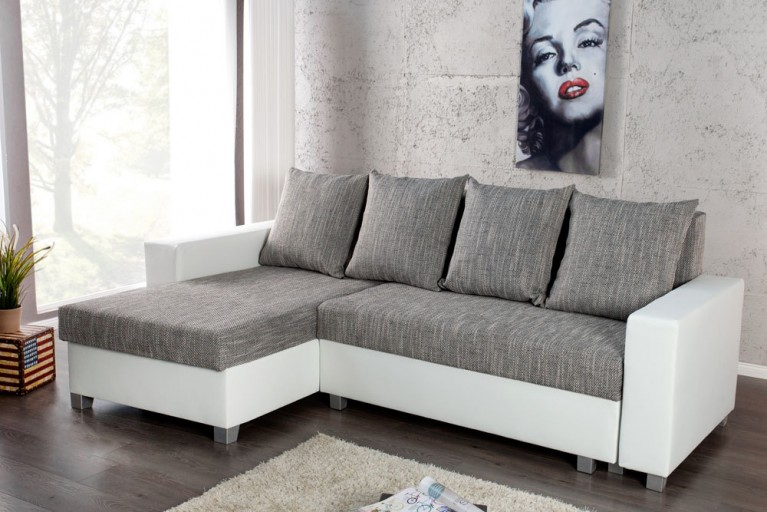 Design Ecksofa COMPACT weiß Strukturstoff grau mit Schlaffunktion beidseitig aufbaubar